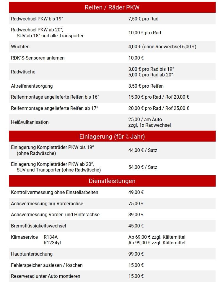 Preisliste Reifen Engelhardt